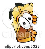 Hard Hat Mascot Cartoon Character Peeking Around A Corner