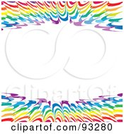 Royalty Free RF Clipart Illustration Of A White Background With Upper And Lower Borders Of Rainbow Spikes