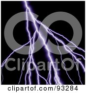 Royalty Free RF Clipart Illustration Of Purple Lighting Striking Over Black