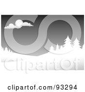 Royalty Free RF Clipart Illustration Of A Winter Scene Of Evergreens Under A Gray Sky