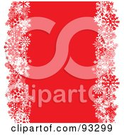 Royalty Free RF Clipart Illustration Of A Red Background Bordered With Snowflakes And White Edges