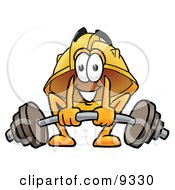 Clipart Picture Of A Hard Hat Mascot Cartoon Character Lifting A Heavy Barbell by Toons4Biz