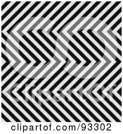 Royalty Free RF Clipart Illustration Of A Black And White Zig Zag Hazard Stripes Pattern Background