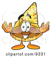 Clipart Picture Of A Hard Hat Mascot Cartoon Character Wearing A Birthday Party Hat by Toons4Biz