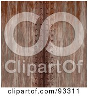 Royalty Free RF Clipart Illustration Of A Vertical Line Of Rivets In Rusted Metal by Arena Creative