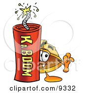 Hard Hat Mascot Cartoon Character Standing With A Lit Stick Of Dynamite by Toons4Biz
