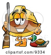 Hard Hat Mascot Cartoon Character Duck Hunting Standing With A Rifle And Duck