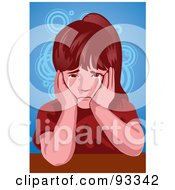Royalty Free RF Clipart Illustration Of A Girl Crying 2 by mayawizard101