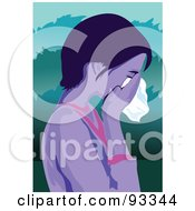 Royalty Free RF Clipart Illustration Of A Girl Crying 1 by mayawizard101