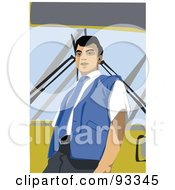 Royalty Free RF Clipart Illustration Of A Male Bus Driver Leaning Against A Bus