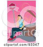 Royalty Free RF Clipart Illustration Of A Woman Calling For Road Side Assistance And Sitting On Her Broken Down Car by mayawizard101