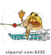 Hard Hat Mascot Cartoon Character Waving While Water Skiing by Toons4Biz