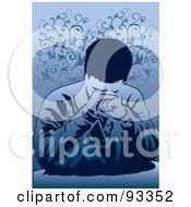 Royalty Free RF Clipart Illustration Of A Sad Or Praying Man by mayawizard101