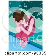 Royalty Free RF Clipart Illustration Of A Sad Girl by mayawizard101