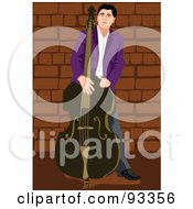 Royalty Free RF Clipart Illustration Of A Bass Player By A Brick Wall