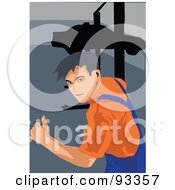 Royalty Free RF Clipart Illustration Of An Automotive Mechanic Working 1