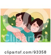 Royalty Free RF Clipart Illustration Of Two Sisters Smiling And Hugging by mayawizard101