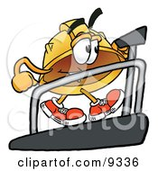 Clipart Picture Of A Hard Hat Mascot Cartoon Character Walking On A Treadmill In A Fitness Gym by Toons4Biz