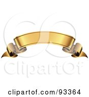 Royalty Free RF Clipart Illustration Of A Blank Arched Gold Ribbon Banner