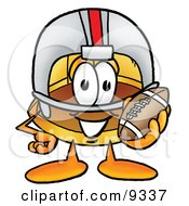 Clipart Picture Of A Hard Hat Mascot Cartoon Character In A Helmet Holding A Football by Toons4Biz