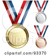 Royalty Free RF Clipart Illustration Of A Digital Collage Of Gold Bronze And Silver Medal Award On A Red White And Blue Ribbon