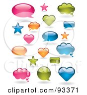 Royalty Free RF Clipart Illustration Of A Digital Collage Of Shiny Pink Orange Blue And Green Word Balloons In Different Shapes by TA Images