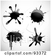 Digital Collage Of Black Ink Splatters With Drips