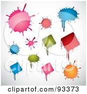 Digital Collage Of Pink Red Blue Green And Orange Round And Diamond Shaped Splatters