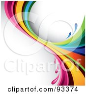 Royalty Free RF Clipart Illustration Of A Rainbow Splash Over A Shaded White Background by TA Images
