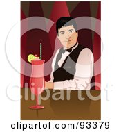 Royalty Free RF Clipart Illustration Of A Friendly Male Bartender With A Drink At The Bar