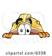 Hard Hat Mascot Cartoon Character Peeking Over A Surface by Toons4Biz