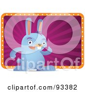 Royalty Free RF Clipart Illustration Of A Blue Rabbit Standing In Front Of A Purple And Orange Sign by Qiun