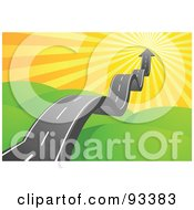 Royalty Free RF Clipart Illustration Of A Bumpy Arrow Road Taking Off Into The Sunny Sky