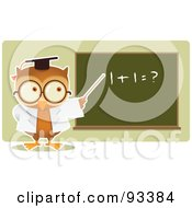 Royalty Free RF Clipart Illustration Of An Owl Teacher Teaching Math And Pointing To A Board