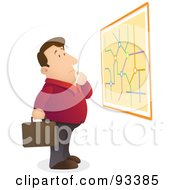 Royalty Free RF Clipart Illustration Of A Lost And Confused Businessman Reading A Map On A Wall by Qiun