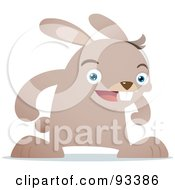 Royalty Free RF Clipart Illustration Of A Beige Rabbit Facing Front And Smiling by Qiun
