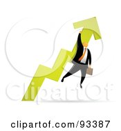 Royalty Free RF Clipart Illustration Of An Orange Faceless Businessman Holding Onto A Green Arrow As It Heads Up