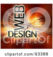Royalty Free RF Clipart Illustration Of A Bursting Web Design Word Collage On Red by MacX