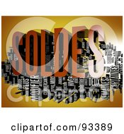 Royalty Free RF Clipart Illustration Of A 3d Soldes Word Collage On Orange by MacX