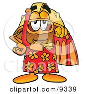 Clipart Picture Of A Hard Hat Mascot Cartoon Character In Orange And Red Snorkel Gear by Toons4Biz