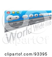 Royalty Free RF Clipart Illustration Of A Tilted Internet Browser Window On White by MacX