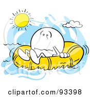 Royalty Free RF Clipart Illustration Of A Moodie Character In A Raft Under The Hot Sun by Johnny Sajem