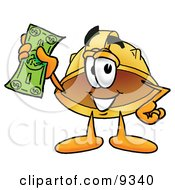 Clipart Picture Of A Hard Hat Mascot Cartoon Character Holding A Dollar Bill by Toons4Biz