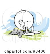 Royalty Free RF Clipart Illustration Of A Moodie Character Sitting On A Stump