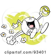 Royalty Free RF Clipart Illustration Of A Moodie Character With A Daylight Saving Clock And Jumping Forward