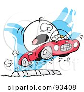 Royalty-Free (RF) Clipart Illustration of a Moodie Character Flying Over A Speed Bump by Johnny Sajem
