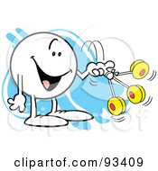 Royalty Free RF Clipart Illustration Of A Moodie Character With Three Yo Yos by Johnny Sajem