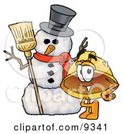 Clipart Picture Of A Hard Hat Mascot Cartoon Character With A Snowman On Christmas by Toons4Biz