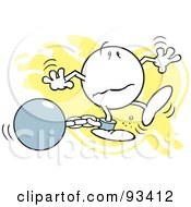 Royalty Free RF Clipart Illustration Of A Moodie Character Dragging A Ball And Chain