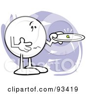 Royalty Free RF Clipart Illustration Of A Moodie Character Holding A Tiny Pea On A Plate